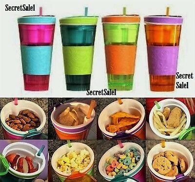 2-in-1 Travel Mug Drink Cup Snack Box Lid and Straw Snakeez Easy 4 Colors