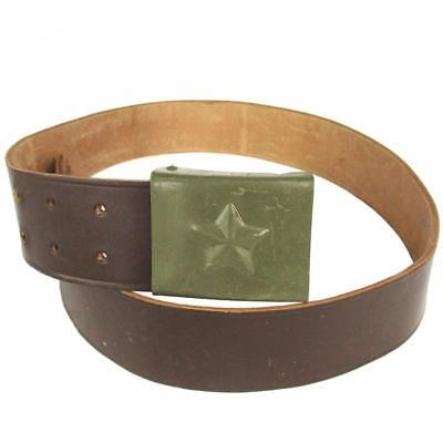 Original genuine Czech army leather belt. Vintage military belt and buckle