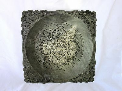 Antique Islamic art  silver plated plate, hand crafted Persian art