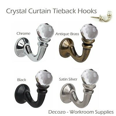 Speedy Crystal Curtain Tie Back Wall Hooks - Ideal For Designer Tassle Tiebacks