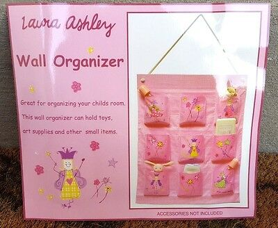 New $40 LAURA ASHLEY Pink Hanging Wall Organizer Childrens Girl 9 Pockets