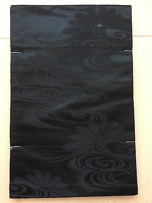 UNUSED authentic Japanese fukuro obi for kimono, black silk, good cond. (G507)