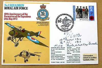3 SQUADRON 1972 RAF COVER SIGNED BY WORLD WAR 1 PILOT Wg Cdr THOMAS GUTTERY