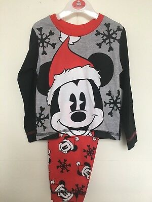BNWT Mickey Mouse Christmas Pyjama Set - L/s Top/Bottoms Age 12 Months - 4 Years