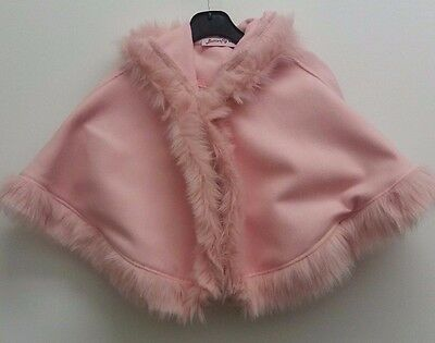 Girls Pink faux fur cape with hood faux fur trim Romany/Essex style