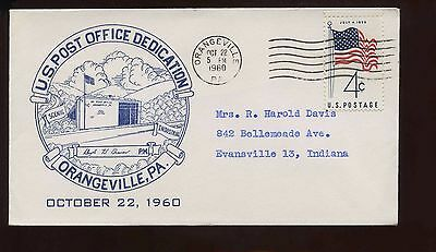 US Small Town Post Office Dedication Cover 1960 Orangeville, Pa