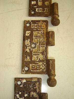 Antique Door Hinge Plate 3 Matching Victorian Ornate Deco Finial Turn of Century