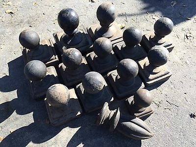 Vintage Cast Iron Round Fence Post Tops