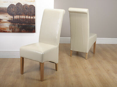 Pair (2) Dining Chairs Krista Ivory Leather Dining Chair Roll Back Chair