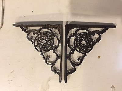 Ornate Antique Vintage Victorian Cast Iron Spiderweb Archtectural Bracket Shelf