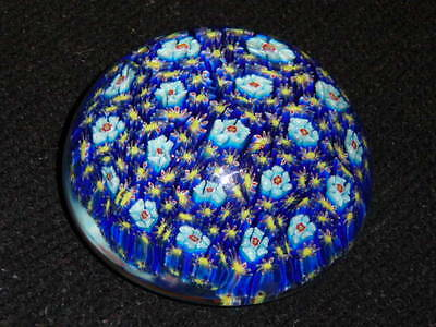 Glass Paper Weight Blue Flowers Multi Color