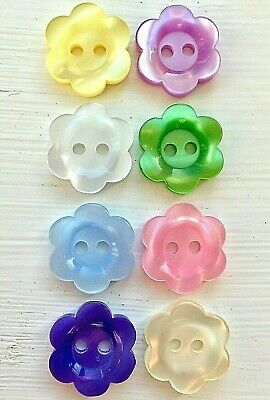 10 Teeny Flower Buttons in 3 Sizes and 4 Colours