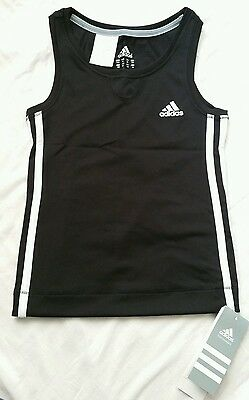 BNWT Boys Girls Adidas 3 Stripe ClimaCool Tank Top Black Sleeveless 8yrs & 10yrs