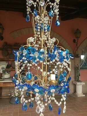 Vintage Murano Floral Glass Italian Chandelier