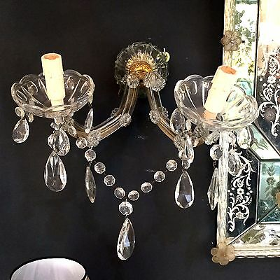 Pair Of Murano Crystal  Wall Sconces