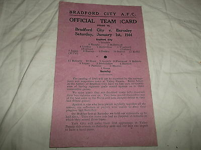 Rare Wartime Bradford City V Barnsley 1St January 1944 1943/44 Card Style Issue