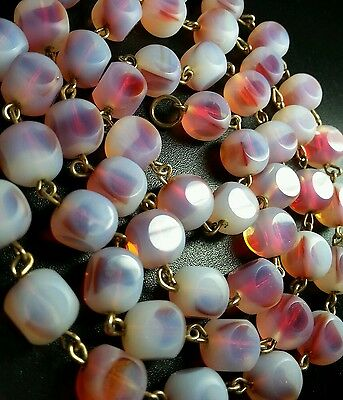 """Vintage Art Deco Opaque Raspberry Cathedral Glass Bead 30"""" Necklace"""