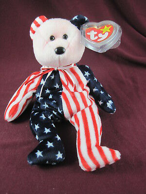 "Ty Beanie Baby ""Spangle"" Bear RARE Pink Face/Error on Tag Patriotic"