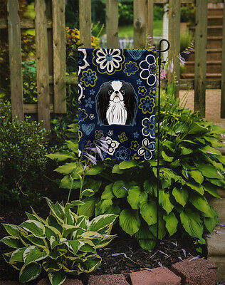 Carolines Treasures  BB5081GF Blue Flowers Japanese Chin Flag Garden Size
