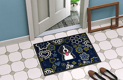 Blue Flowers Bernese Mountain Dog Indoor or Outdoor Mat 18x27