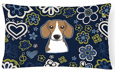 Blue Flowers Beagle Canvas Fabric Decorative Pillow