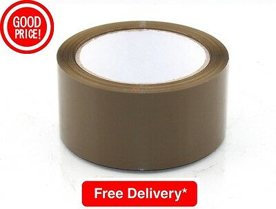 72 Big Rolls Of Brown Buff Strong Parcel Packing Tape 48Mm X 50M Packaging