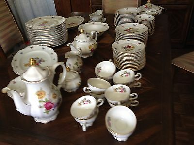 Vintage German Mitterteich Meissen Floral Set 98 Pieces - Free Shipping