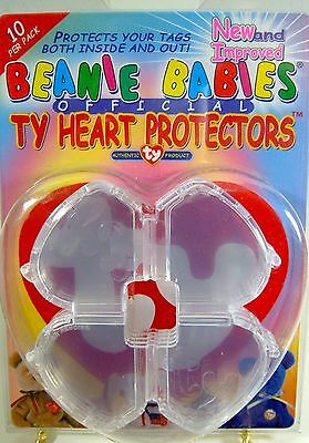 Ty Beanie Babies Heart Tag Protector Pack 10 Authentic Viewing Open Or Closed