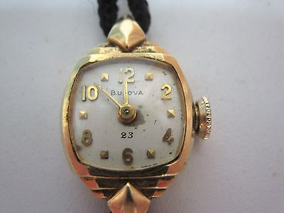 Vintage Antique Bulova 18k Gold 23 Jewels Womens Wrist Watch for Parts or repair