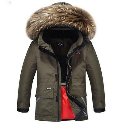 Boys Kids 90% Warm Duck Down Jacket Parka Thick Fur Collar Hooded Parkas Coat