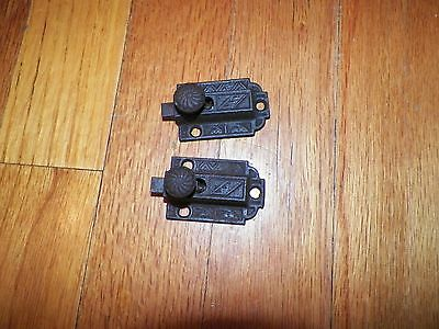 Pair Antique Victorian Jelly Cabinet Cupboard Door Lock CAST IRON Latch Ornate