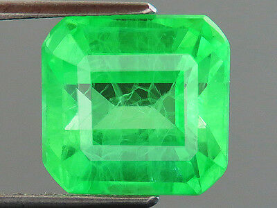 11.90ct Lab-created COLUMBIAN EMERALD CHATHUM OCTAGON INDUCED INCLUSION 11.4x12M