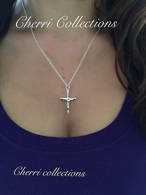 925 Sterling Silver Women's Crucifix Catholic Jesus Cross Pendant Necklace  18""