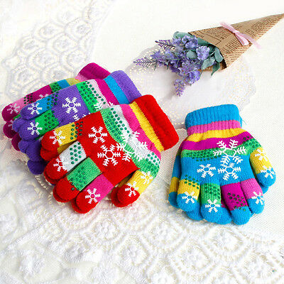 Children Baby Kids Thickened Snow Gloves Cartoon Knit Mitten Winter Warm Gloves