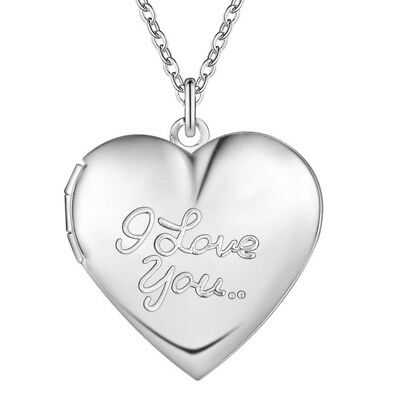 "925 Sterling Silver ""I Love You"" Script Heart Locket Photo Pendant Necklace N11"