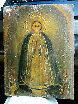 Rare Antique Retablo On Ti With Image Of Our Lady On A Column With Flower Vases