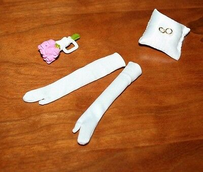 Barbie Doll Bouquet & Satin Pillow With Rings, & White Gloves
