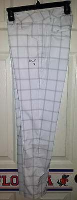 NEW Puma Golf Windowpane Pants Carpri Turbulence Tradewinds Womens Size 0 UPF 50