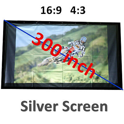 Big Size 300'' Projector Screen 16:9 4:3 Silver 3D HD for Business Cinema Hall