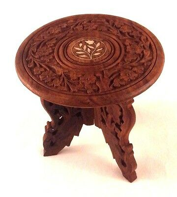Vtg Folding Carved Mother of Pearl Abalone Inlay Wood Plant Stand Table India