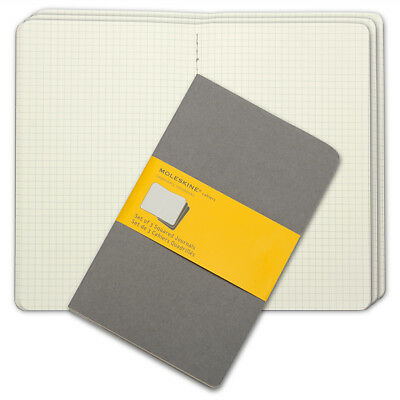 NEW Moleskine Cahier Large Squared Journal Set 3pce Grey