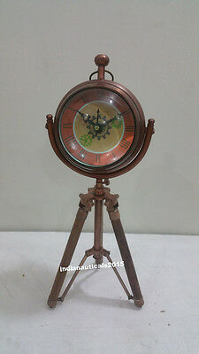Contemporary  Copper Table Decor clock with Tripod Stand Nautical Authentic cloc