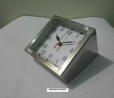 Collectible Decorate Old Handwork Fully /Chrome Mechanical Table  / Desk Clock