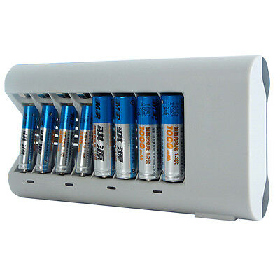 8 Slot Rapid Smart Battery Charger for AA AAA NiMH NiCD Rechargeable Battery #
