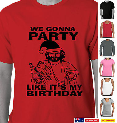Funny Christmas T-Shirts  Party like its my Birthday  Jesus Aussie  Singlets new