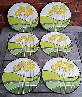 Vintage Retro 6 Cork Backed Round Casa Collection Placemats Table Place Mats