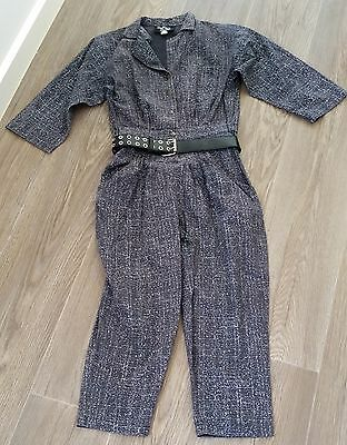 Retro 1980s Dolly Dolly DARK GREY WHITE Cotton 1/2 Sleeve Jumpsuit size 6