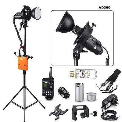 Godox AD360 Flash light + PB960 Battery  + Ft-16 Trigger + Bracket +Light stand