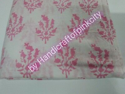 By Yards Pink Color hand Block Print Fabric 44'' craft cut cotton fabric