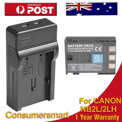 Battery + USB Charger For NB-2L Canon EOS 400D 350D Powershot S30 S40 S45 S50 AU